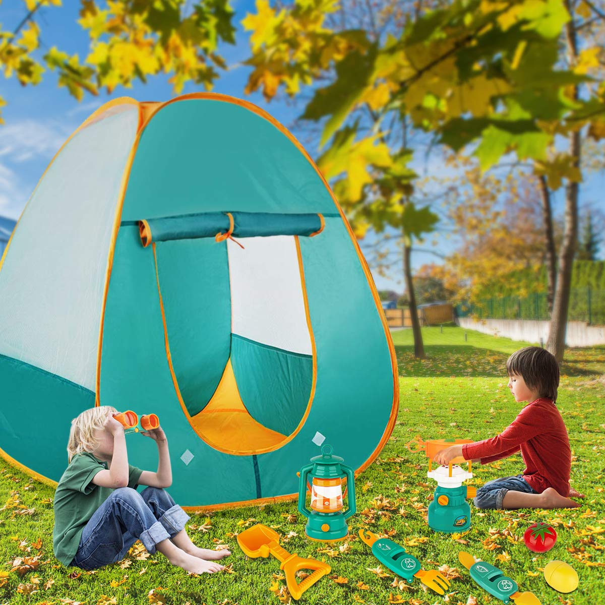 Indoor and Outdoor Camping Tools Pretend Play Set for Toddler Boys /& Girls Pop Up Play Tent with Kids Camping Gear Toys KAQINU 27 PCS Kids Camping Set
