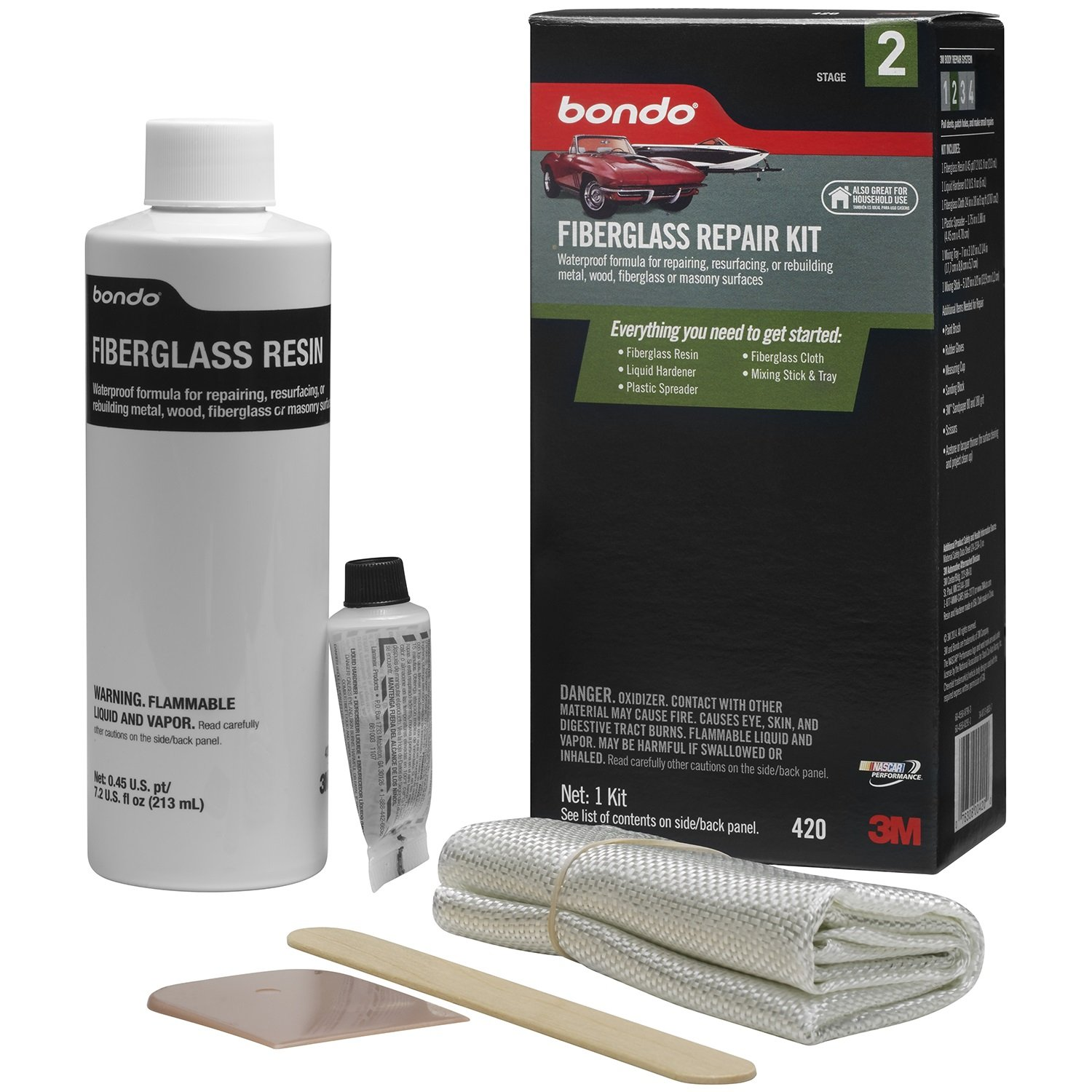 Amazon.com: 3M 420 Fiberglass Resin & Repair Kit, .45 Pint: Automotive