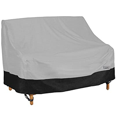 """North East Harbor Outdoor Patio Loveseat Sofa Furniture Cover - 62"""" W x 38"""" D x 35"""" H - Breathable Material, UV Protected, and Weather Resistant Storage Cover - Gray with Black Hem: Garden & Outdoor"""