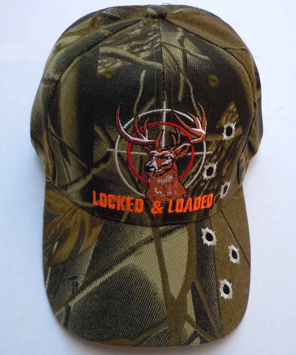 fdb6434dc Amazon.com : Buck In Sight LOCKED & LOADED with Bullet Holes Baseball Hat  (Black) : Sports & Outdoors