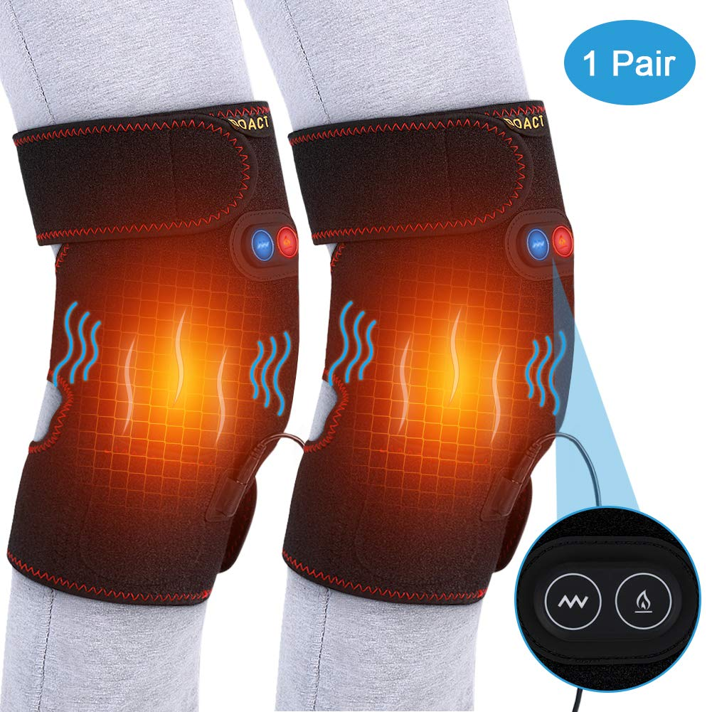 Doact Heat Knee Pad with Motor Massage, Heat Knee Wrap Brace for Hot Cold Threapy, Adjustable Knee Joint Warmer for Arthritis Cramps Stiff Muscles Pain Relief, Fits Men Women 1 Pair by DOACT