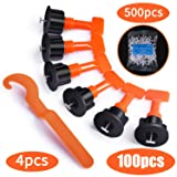 Premium Tile Leveling System Kit with 100pcs Tile Leveler Spacers, 4 Special Wrenches and 500pcs 2mm Tile Spacers, Reusable Tile Installation Tool Kit for Construction, Like Building Walls & Floors. (Color: Orange)