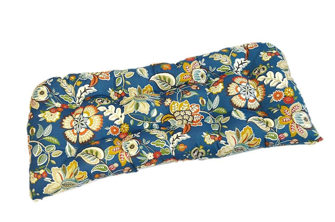Indoor / Outdoor Cushion for Wicker Loveseat Settee - Peacock Blue, Red, Orange, Green Floral