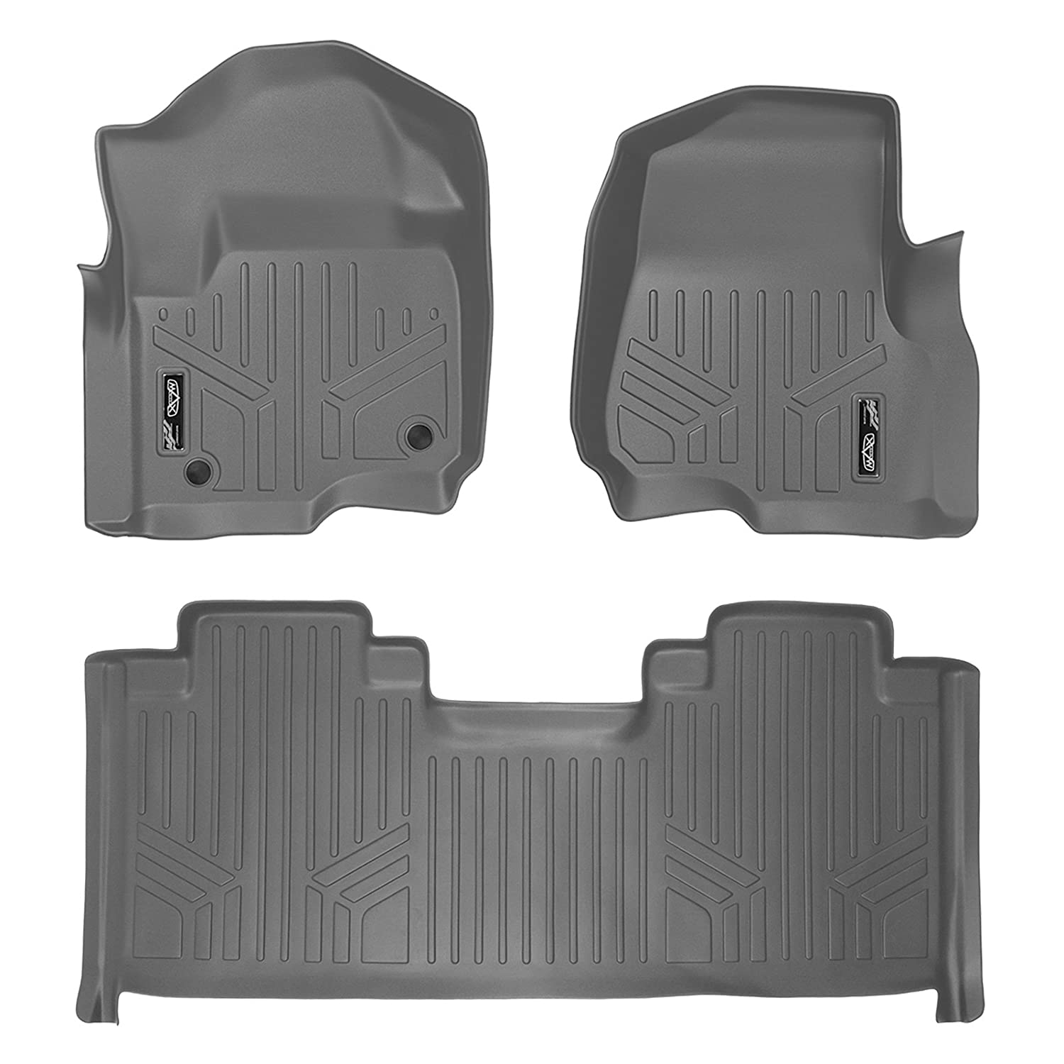 SMARTLINER Floor Mats 2 Row Liner Set Grey for 2017-2019 Ford F-250//F-350 Super Duty SuperCab with 1st Row Bucket Seats