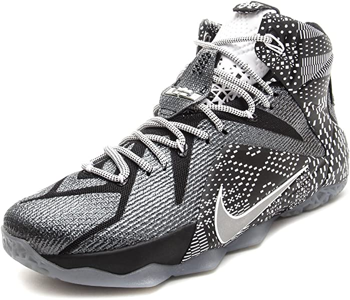 new product 349fa 84c96 Nike LeBron 12 BHM - Black White Metallic Silver - 718825-001 (