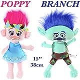 "Dreamworks Trolls Movie 15""(38cm) Plush Doll Set of 2 Poppy and Branch By Ambassador."