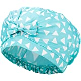 Auban Shower Cap Reusable,Ribbon Bow Bath Cap Oversized Large Design With Moldproof and Waterproof Exterior for All Hair…
