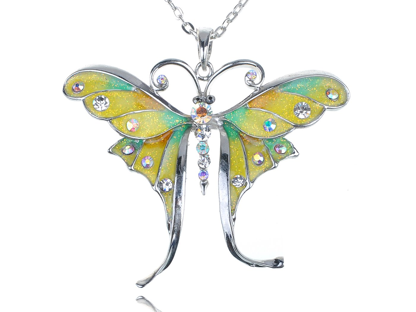 Alilang Yellow Enamel Painted Crystal Rhinestone Butterfly Dragonfly Pendant Necklace