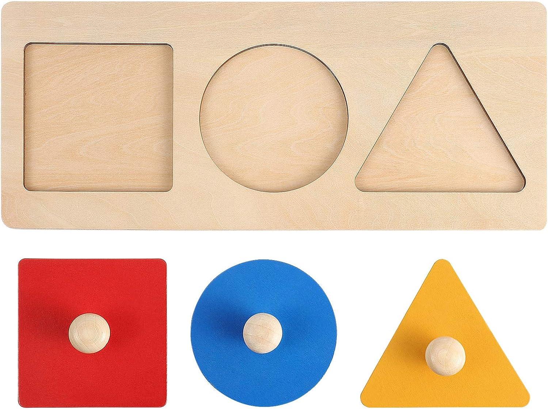 TOYANDONA 1 conjunto Montessori de madera con forma de puzle geométrico en forma de puzle de madera, juguete educativo