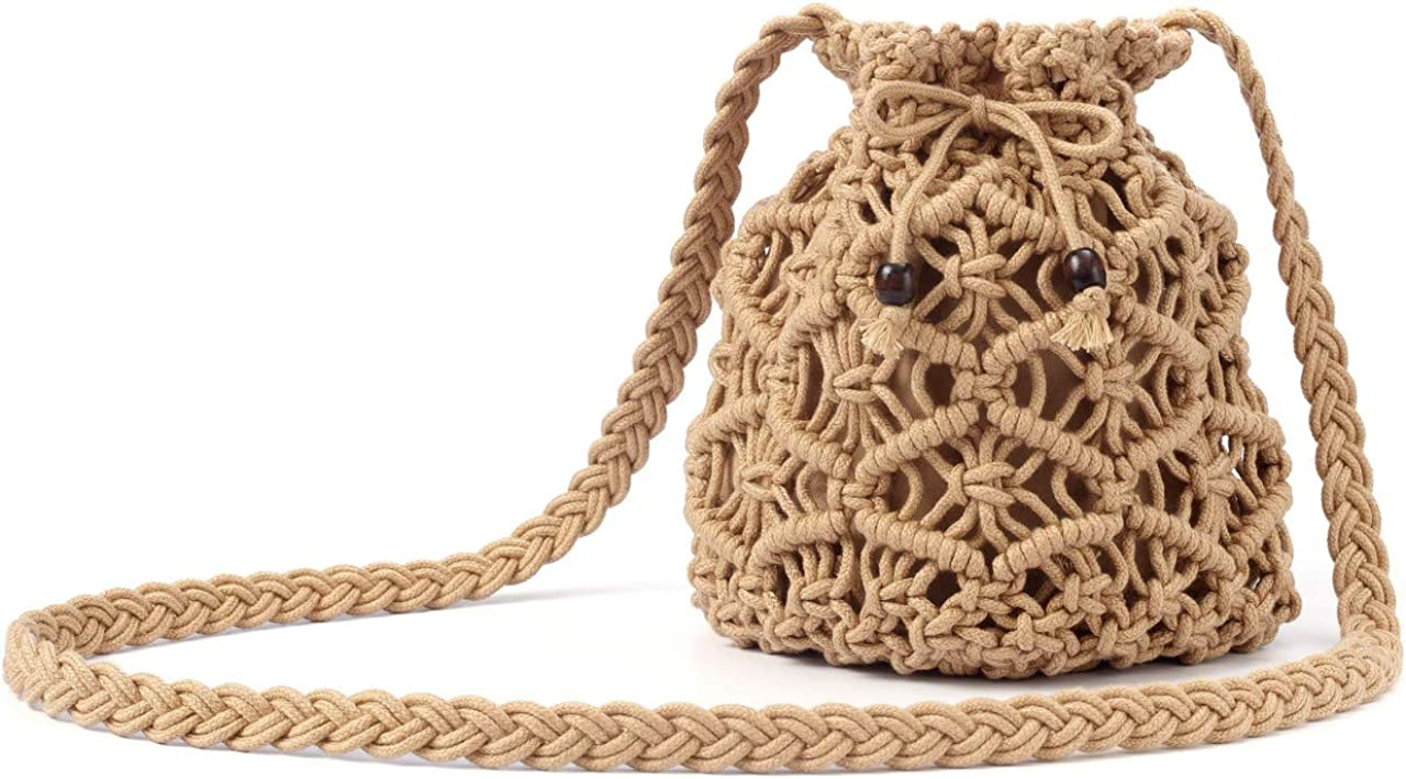 CHIC DIARY Women Cotton Crochet Crossbody Bag Handmade Woven Beach Bohemian Shoulder Purse