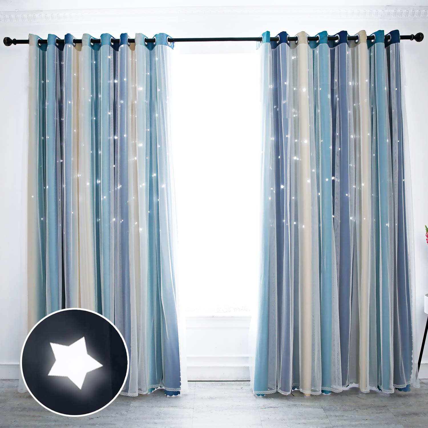 Star Colorful Out Curtains Cut Curtains Blackout Kid For Double fb Bedroom Layer