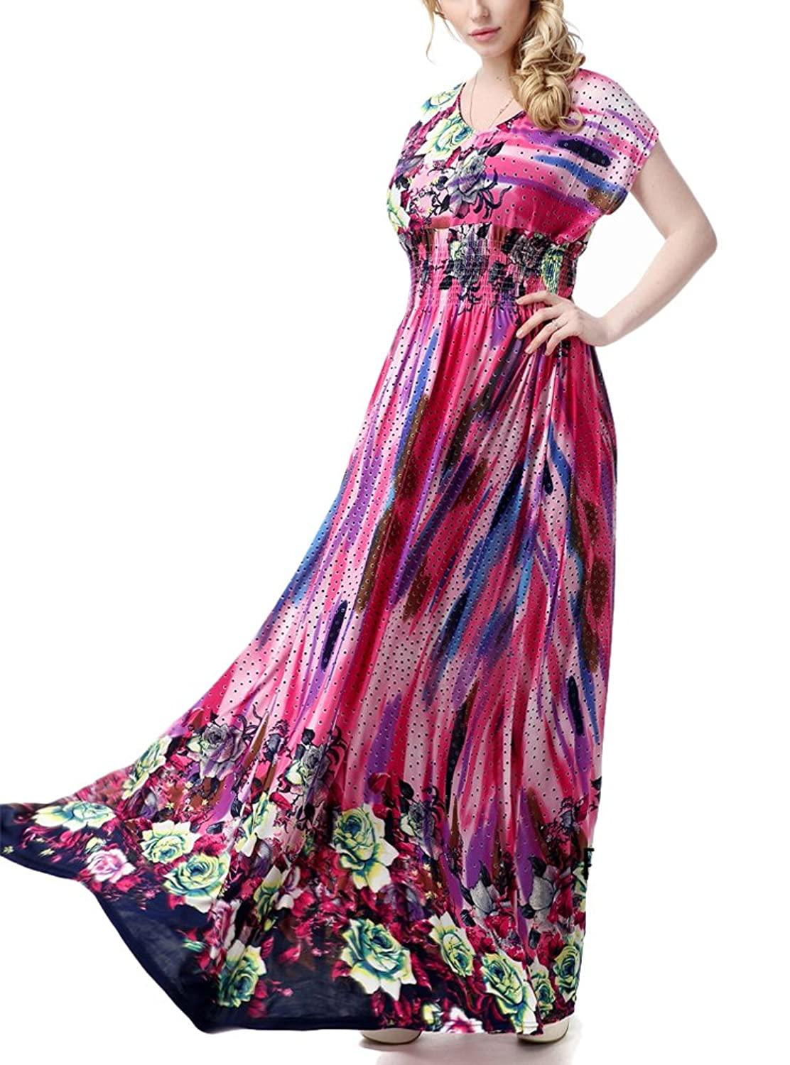 Brinny Damen Sommerkleid Elegante Cocktail Party Floral Kleider Maxi ...