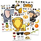 24 Make-A-Zoo Animal Sticker Sheets - Great Zoo And Safari Theme Birthday Party Favors - Fun Craft Project For Children…