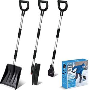 3-in-1 Snow Shovel Kit, Snow Shovel + Snow Rotary Brush + Ice Scraper, with Extendable Handle and Durable Aluminum Edge Blade, Portable Detachable Emergency Snow Removal Set for Car, Camping, Backyard