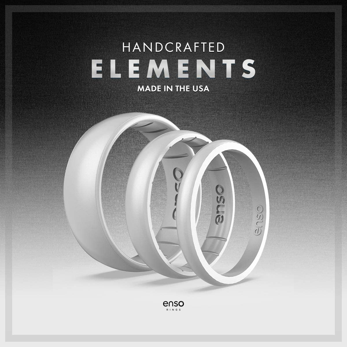 Comfortable Breathable and Safe Made in The USA Lifetime Quality Guarantee Enso Rings Thin Elements Silicone Ring Infused with Precious Elements