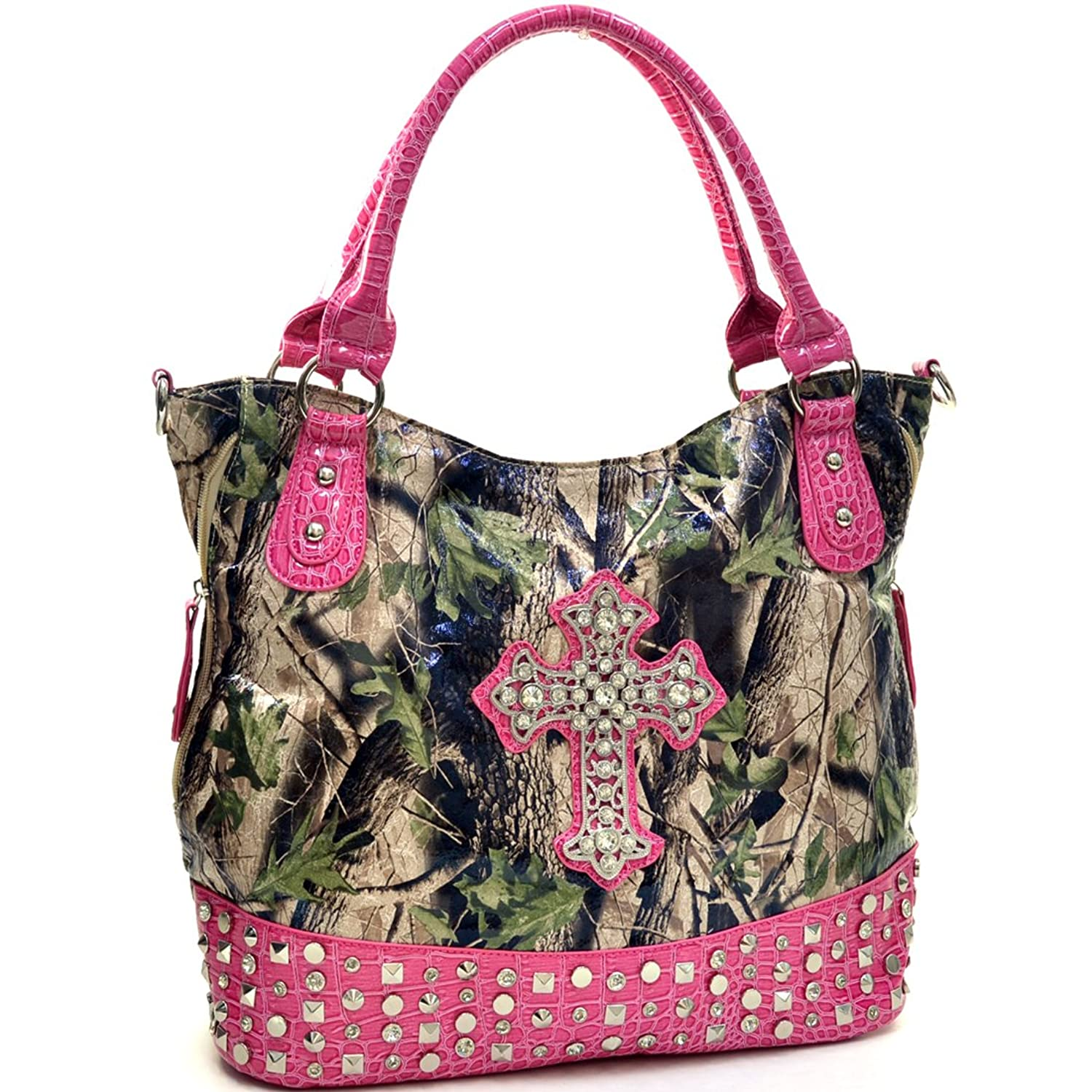 Western Faux Patent Leather Camouflage Shoulder Bag, Handbag, Tote with Rhinestone Cross and Pyramid Studded Accent