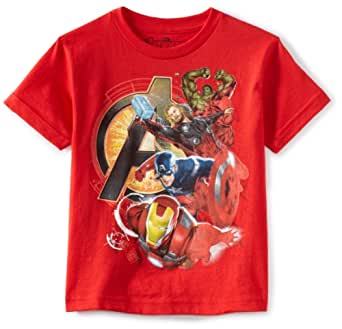 Marvel Boys 2-7 Avengers Assemble Heroes Shirt, Red, Small(4) (Discontinued by Manufacturer)