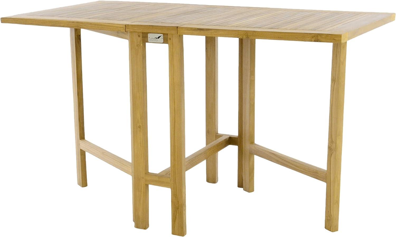 Divero GL30 Klapptisch Balkontisch Gartentisch Esstisch Teak Holz Natur  unbehandelt Tisch für Terrasse Balkon Wintergarten witterungsbeständig