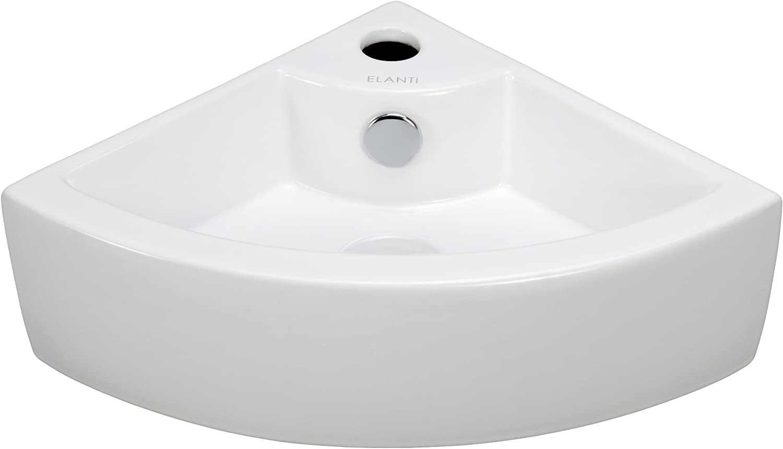 Elanti Collection EC9808 Sink, Corner (17.5 x 12.2 x 4.9 Inches), White