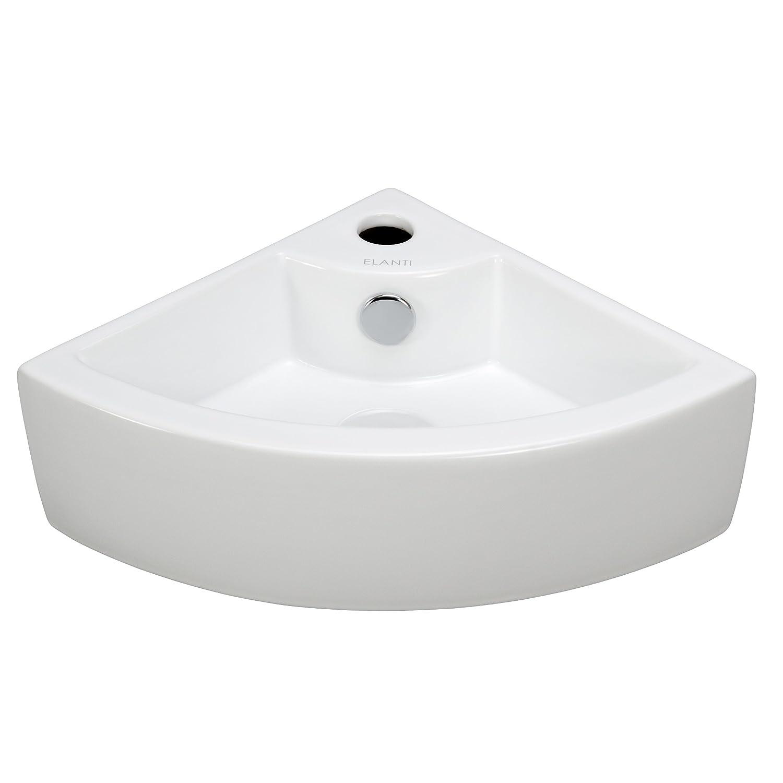 Bon Elite Sinks EC9808 Porcelain Wall Mounted Corner Sink, White
