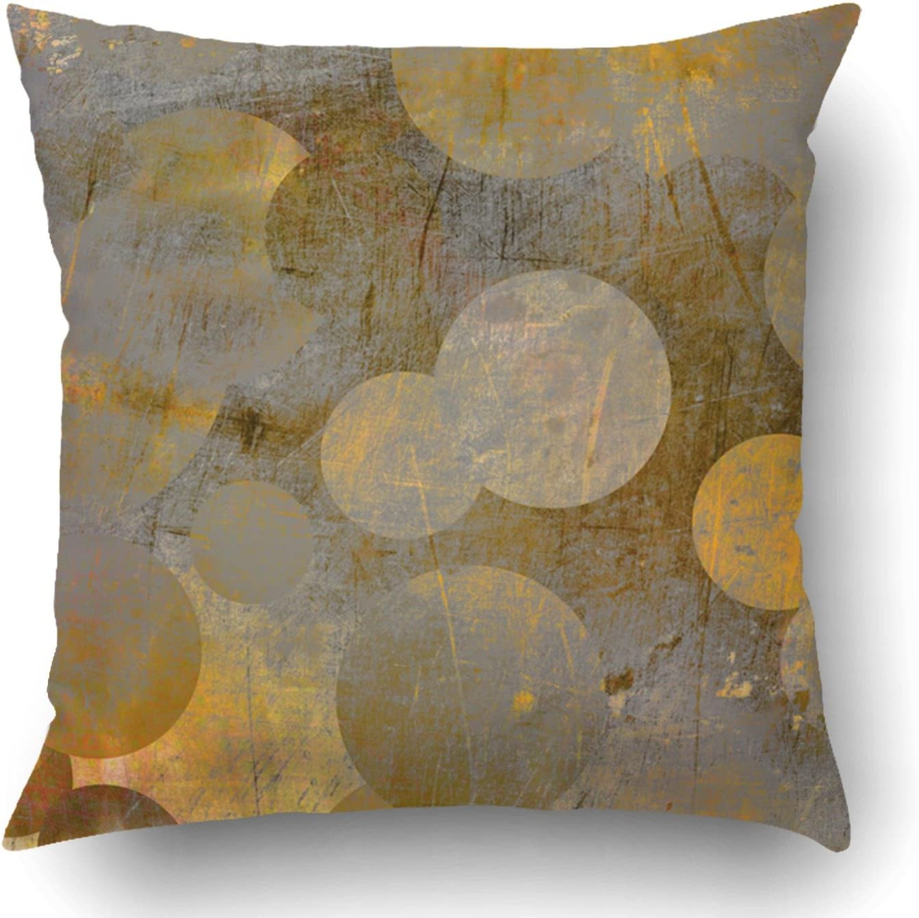 Emvency Throw Pillow Covers Yellow Modern Abstract Grunge Geometric Golden and Grey with Circles Brown Gold Wall Line Strip Old Polyester 18 X 18 Inch Square Hidden Zipper Decorative Pillowcase