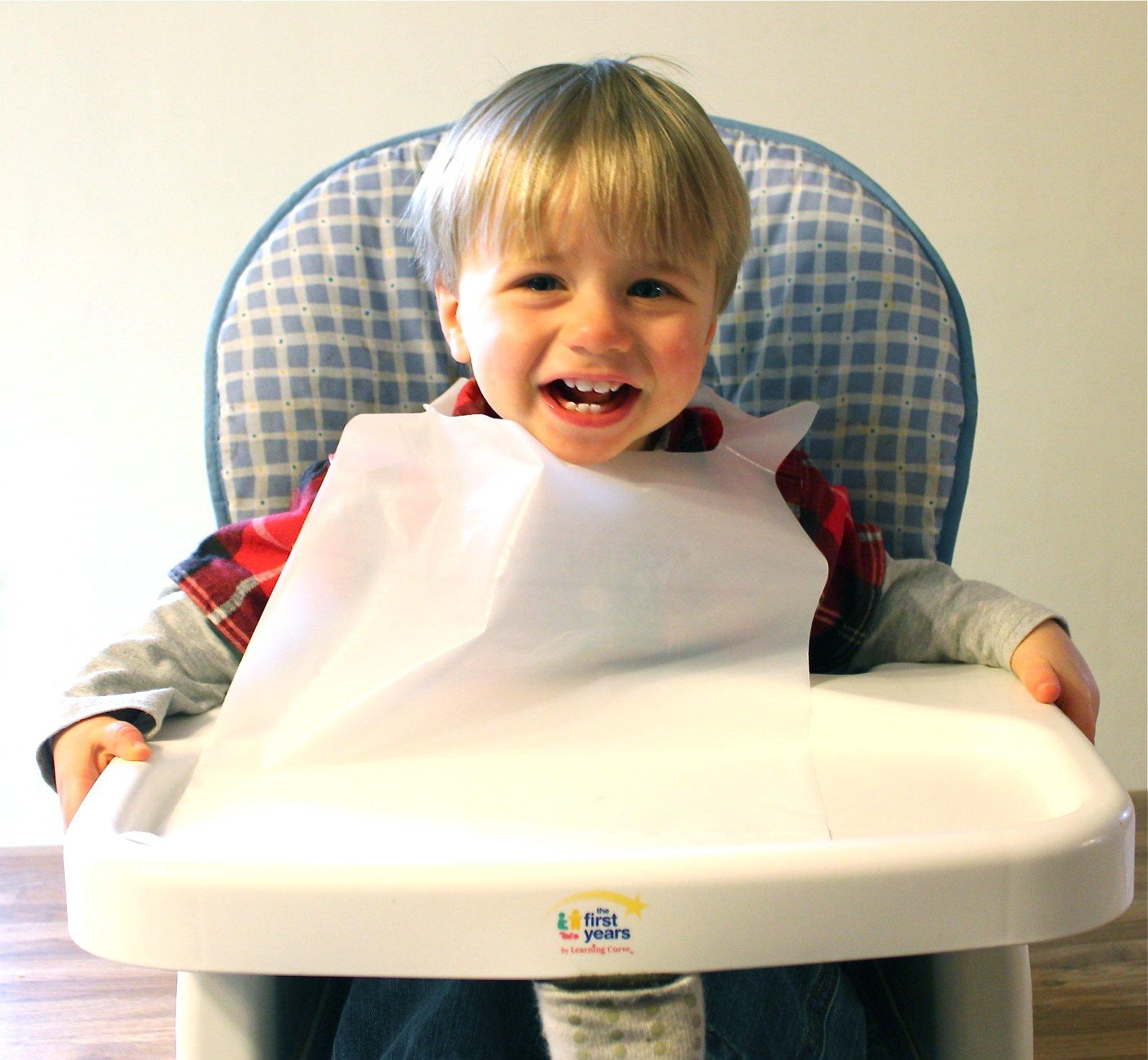 Disposable White Children's Bibs 100 Pack Plastic Free Shipping