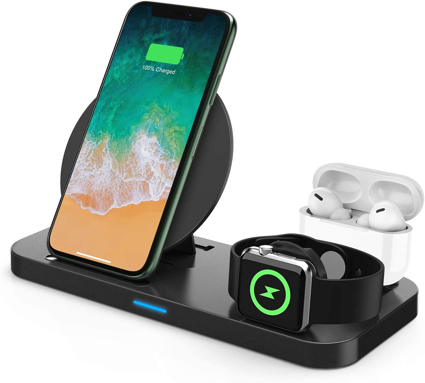 Wireless Charger, 3 in 1 Qi-Certified Wireless Charging Station for AirPods/Apple Watch Series 5/4/3/2/1, Fast Wireless Charging Stand for iPhone 11/11 Pro/11 Pro Max/XS Max/XR/X/Samsung