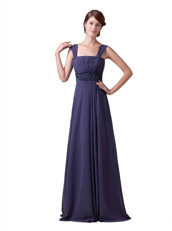 Dresstells Glamourös Damen Kleid Bodenlang Chiffon Abendkleid Ballkleid mit Trägern und Schmucksteinen