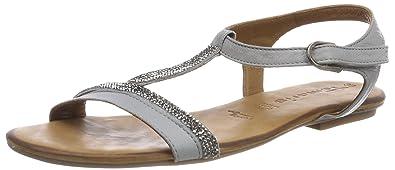 Womens 28042 T-Bar Sandals, Silver Tamaris