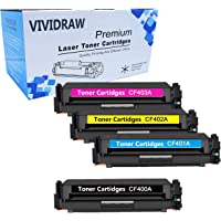 VIVIDRAW Toner Cartridge Replacement for HP 201A CF400A CF401A CF402A CF403A (black, cyan, magenta, yellow) of HP Color Laserjet Pro MFP M277n M277dw M277c6 M274n Pro M252dw M252n