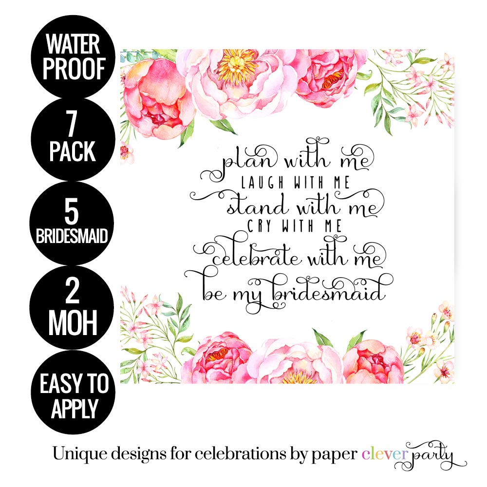 Floral Be My Bridesmaid Wine Bottle Labels Gift Pack of 7-2 Maid of Honor /& 5 Bridesmaid Stickers for Asking My Best Girls