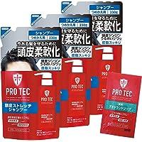 【Amazon.co.jp限定】PRO TEC(プロテク) 頭皮ストレッチ シャンプー 詰め替え 230g×3個パック+デオドラントソープ1回分付(医薬部外品)
