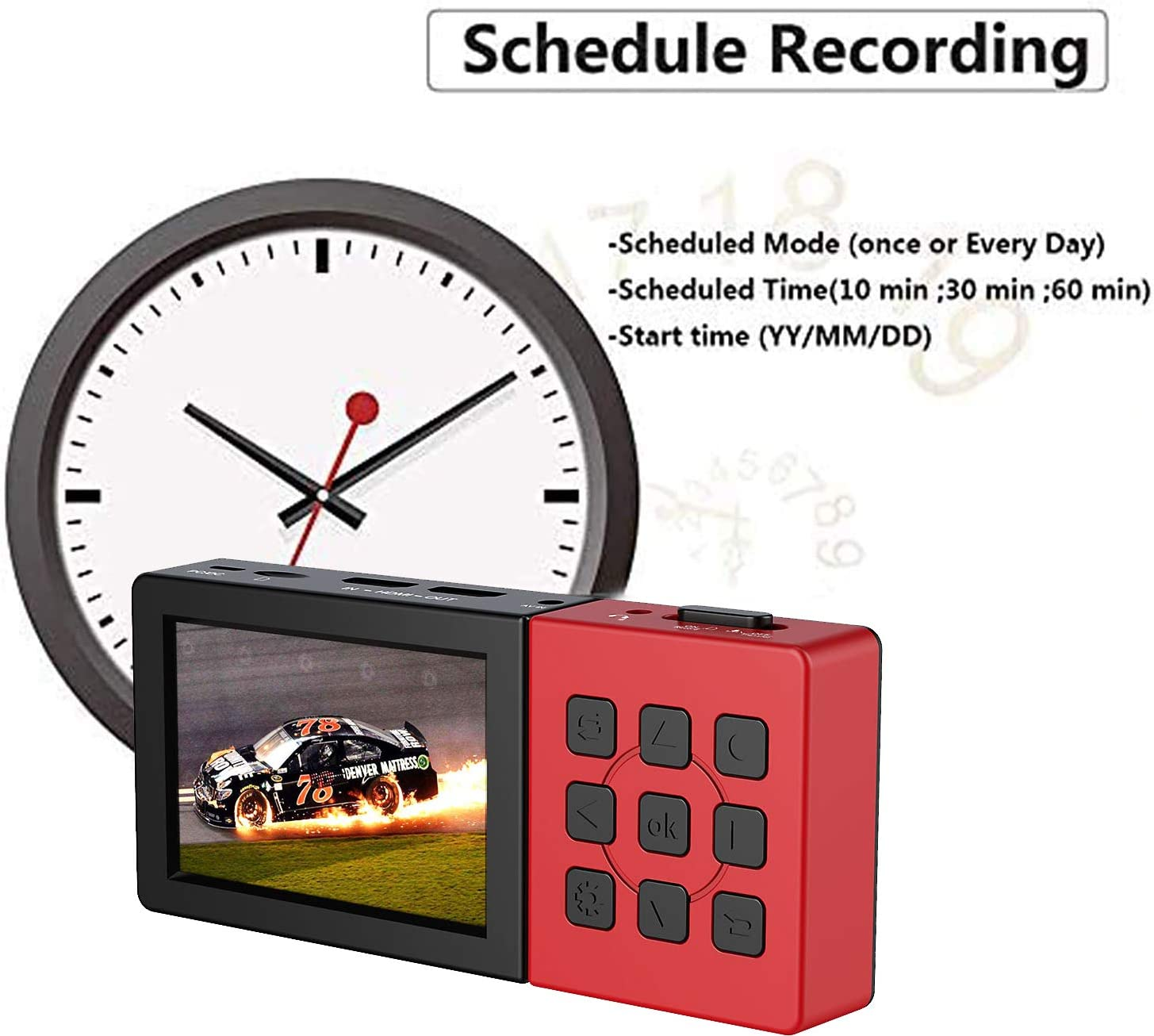 Y/&H HD Game Recorder Pro Without PC Standalone Capture Schedule Capturing AV Recording 1080P 60fps Video Recorder HDMI Video Capture Device with 3.5 Inch LCD,Video Playback Mic for Narration