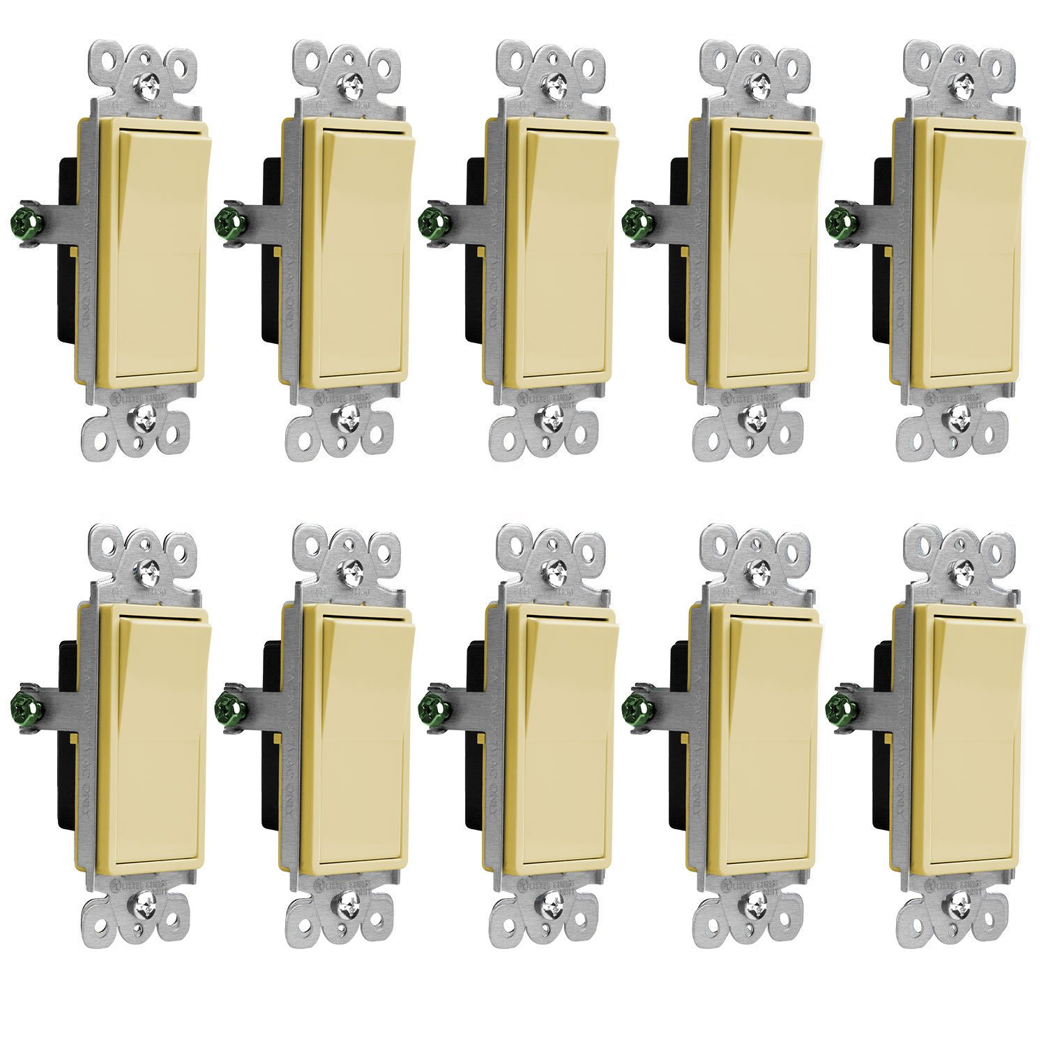 Enerlites Decorator On/Off 3-Way Paddle Wall Switch 93150-W | 15 Amp, 120V/277V, AC, Single Pole, 3 Wire, Grounding Screw, Residential and Commercial Graded Light Switch, UL Listed | Ivory - 10 Pack