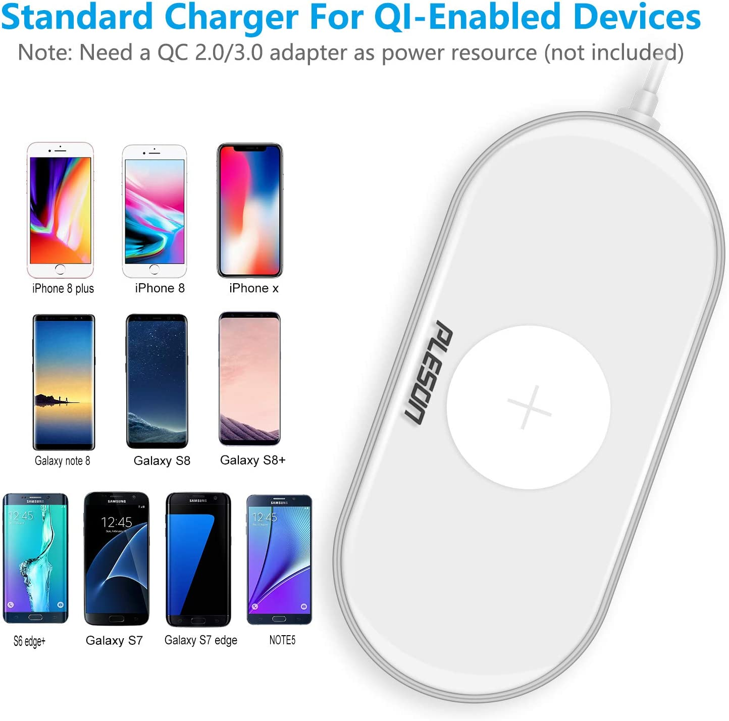 PLESON Fast Charge QI Fast Wireless Charging pad White Galaxy Note 10//Note 10 Plus//S10//S10 Plus Fast Wireless Charger Sleep-Friendly Compatible with iPhone 11//11 Pro//11 Pro Max//Xs MAX//XR//XS//X