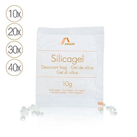 Amazy Paquetes de Gel de Silice – Bolsas absorbentes de humedad, desecantes y reutilizables – 10 x 10 g