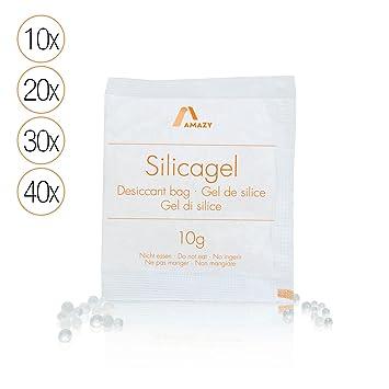 Amazy Paquetes de Gel de Silice – Bolsas absorbentes de humedad, desecantes y reutilizables – 40 x 10 g
