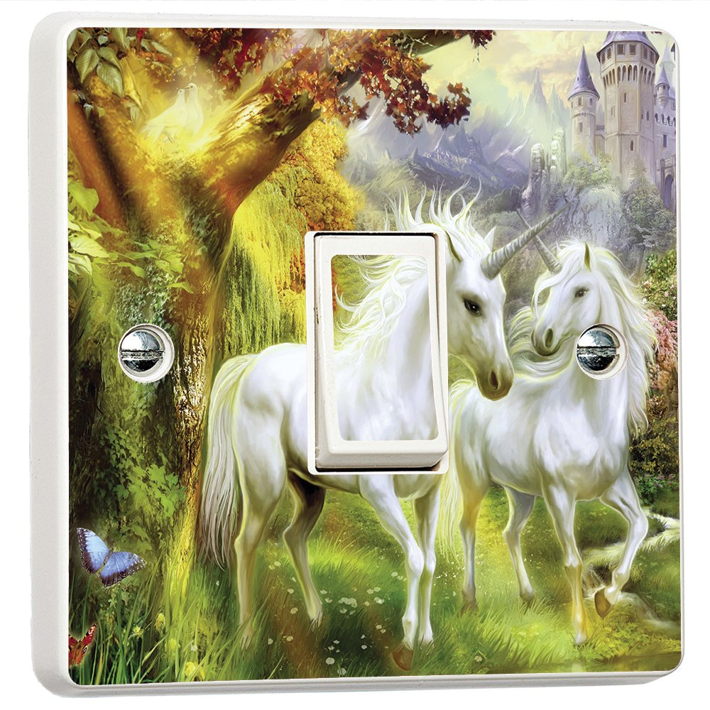 Fantasy Unicorn Island #3 3D Vinyl Skin Light Switch Cover Skin Sticker Decal by Inspired Walls®