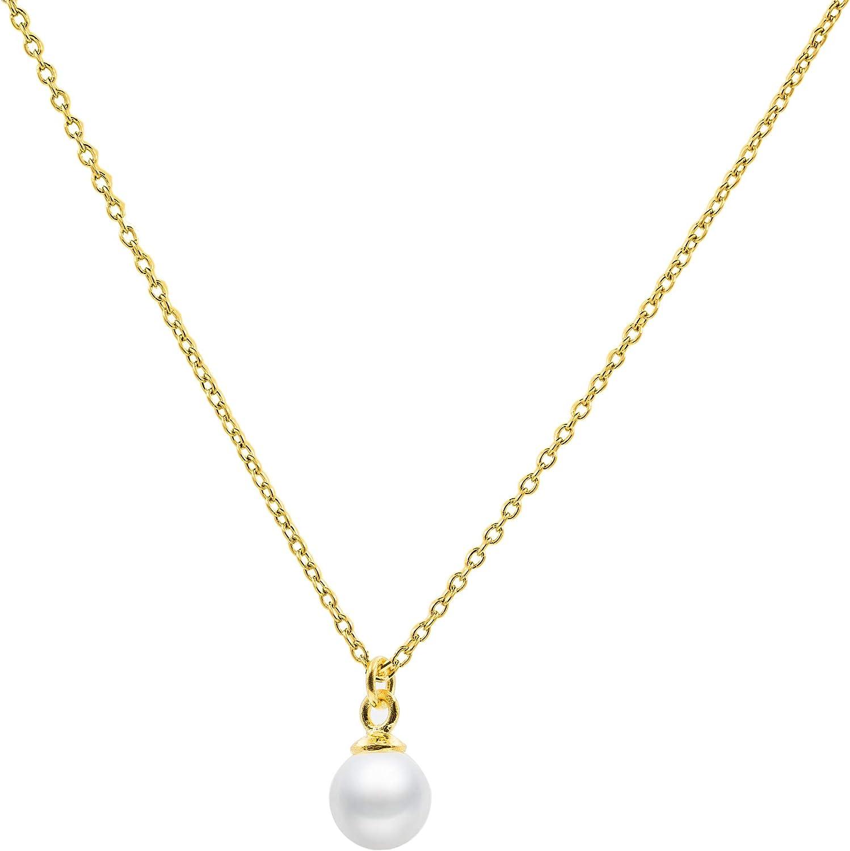 Secret & You Collar de Perla Cultivada Redonda de 5 a 5,5 mm de Agua Dulce - Cadena y Colgante de Plata de Ley de 925 milésimas Bañada en Rodio o en Oro de 18k 40 o 45 cm de Largo.