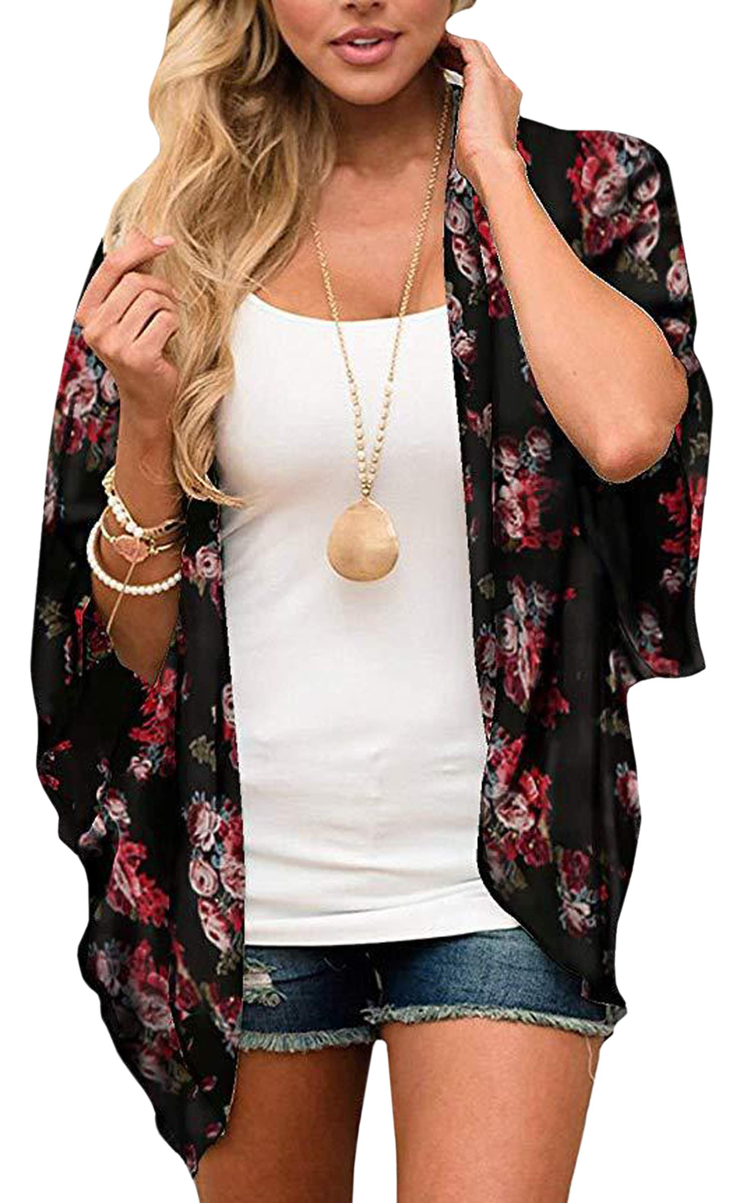 ECOWISH Womens Floral Print Loose Puff Sleeve Kimono Cardigan Lace Patchwork Cover Up Blouse by ECOWISH