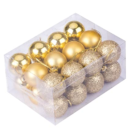 Emmababy 24Pcs Christmas Tree Decoration Ball Pendants Holiday Party Ornaments Gold