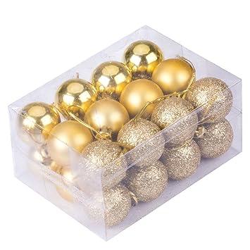 24pcs Christmas Balls Ornament Shatterproof Pendants For Holiday Xmas Garden  Decorations (Gold)