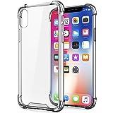 Egotude Shock Proof Hard Back Soft Bumper Anti Scratch Cover Case for iPhone X & iPhone Xs (Clear Transparent)