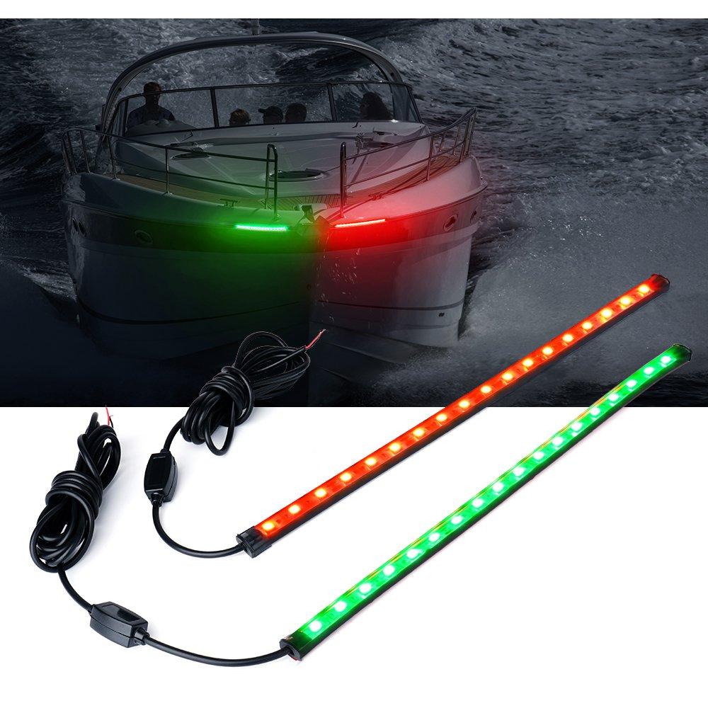 Xprite 12'' LED Red Green Boat Bow Navigation Light for Marine Boat Vessel