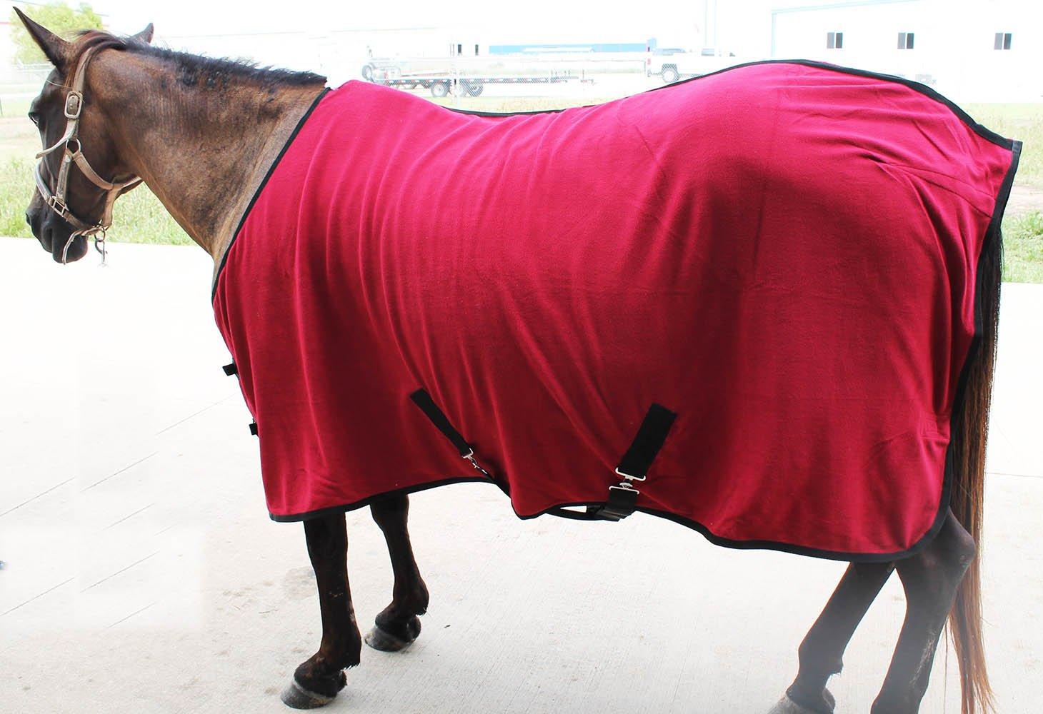 68 inches Challenger Horsewear 68 Horse Sheet Polar Fleece Cooler Exercise Blanket Wick Black Trim 4358