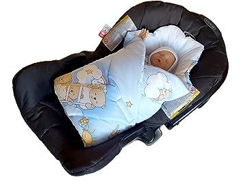 BlueberryShop Luxury Classic Car Seat Swaddle Wrap Blanket For Newborn Baby Blue Bear On