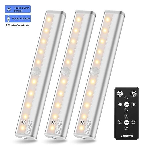 leds con pilas mando a distancia, LDOPTO luces led armario cocina, Luces Nocturnas Portátiles