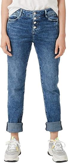 s.Oliver RED Label Damen Regular Fit: Straight Leg Denim mit Knopfleiste