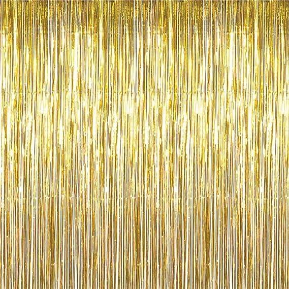 WDOIT - Cortina con flecos para puerta o ventana, decoración para cumpleaños, bodas, fiestas de bienvenida de bebé, color morado 2mÃ-1m dorado