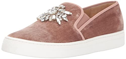 Badgley Mischka Women's Barre Sneaker, Misty Rose Velvet, 7.5 Medium US
